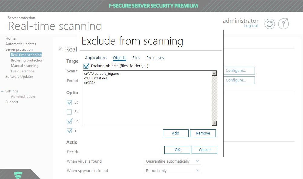tworzenie wyjątków wf-secure server security