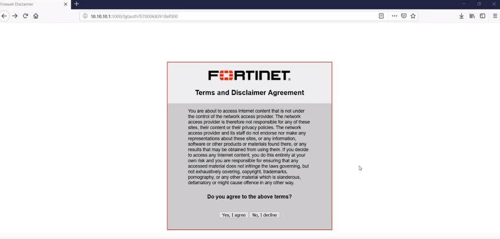 fortigate wifi akceptacja regulaminu
