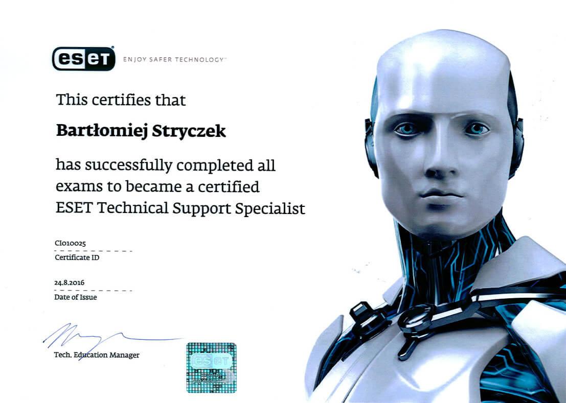 Certyfikat ESET